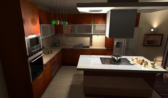 Malé kuchyně s ostrůvkem